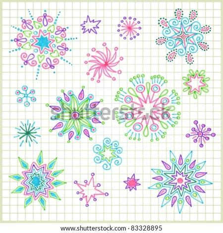 hand draw  doodle vector star element set - stock vector