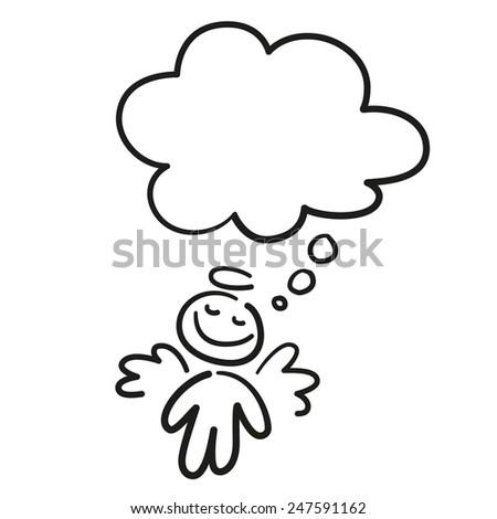 hand-draw dream angel  - stock vector