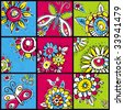 hand draw  flowers in  color squares - stock vector