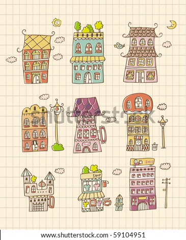 hand draw house - stock vector
