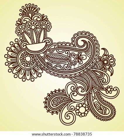 Hand draw line art ornate flower design. Ukrainian traditional style. - stock vector