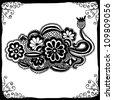 Hand draw line art ornate flower design with elegant black frame - stock vector
