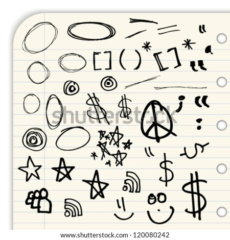 Hand draw marks and symbols isolated on a lined notebook page
