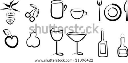 Hand draw objects - stock vector