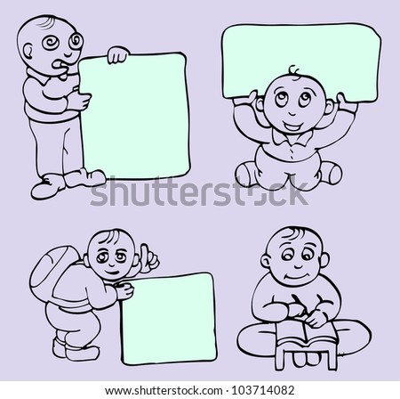 hand draw of Children pose holding blank space for text