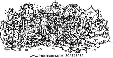 hand draw of imagination amusement park - stock vector