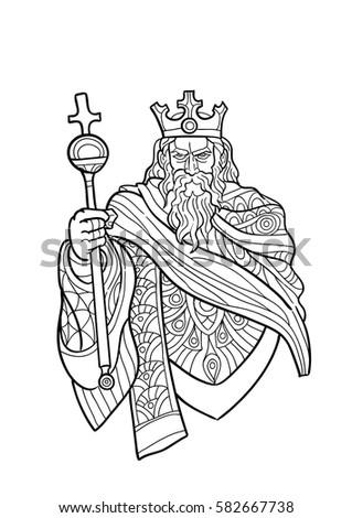 Hand Draw Tarot Card Character Emperor Stock Vector 582667738 ...