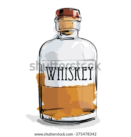 Hand draw of whiskey bottle. Vector illustration.