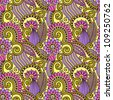 hand draw ornate seamless flower paisley design background - stock