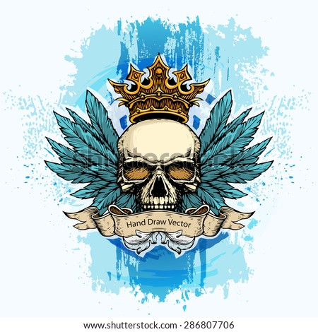 Hand draw scull with wings and crown.  - stock vector