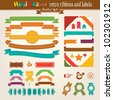 Hand Draw Set Of Retro Ribbons And Labels. Vector illustration. - stock vector