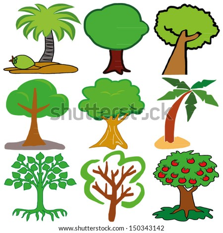 Hand draw set of various vector Trees. Vector illustration