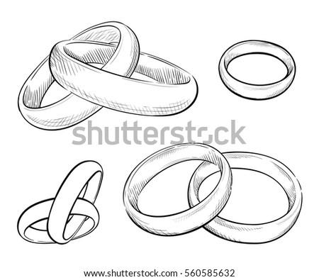 Hand Draw Set Of Vector Ring Illustration Wedding