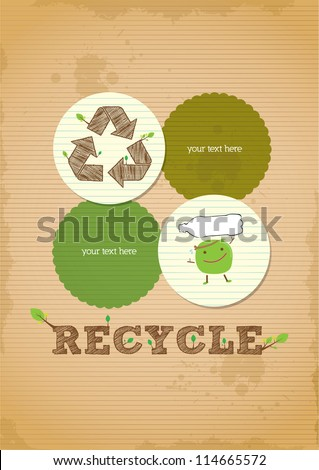 hand draw simple and clean recycling poster - stock vector