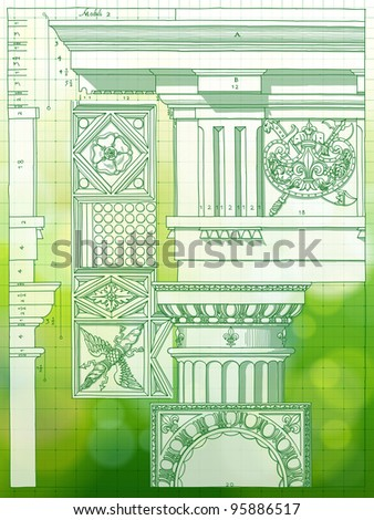Hand draw sketch doric architectural order & green bokeh background - stock vector