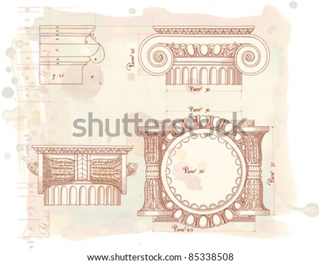 """Hand draw sketch ionic architectural order based """"The Five Orders of Architecture"""" is a book on architecture by Giacomo Barozzi da Vignola from 1593. Vector illustration. - stock vector"""