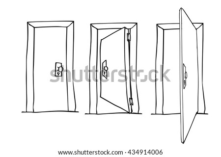 Hand Draw Sketch of Doors - stock vector