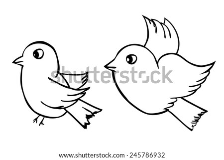 hand draw sketch two outline birds