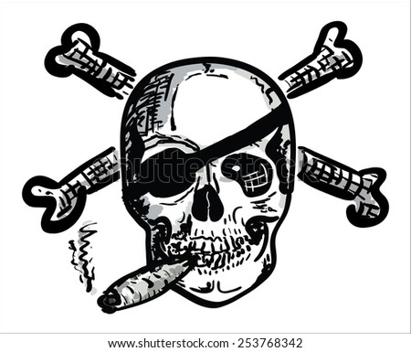 Hand Draw Smoking Skull with Bones  - stock vector