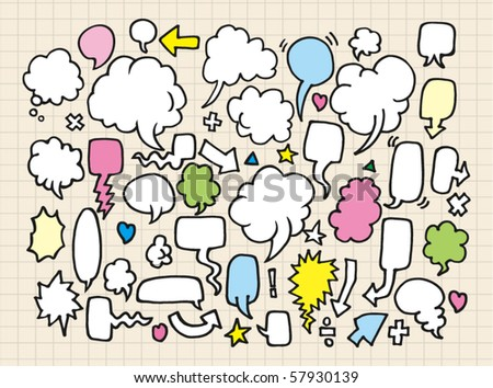 hand draw speech bubbles - stock vector