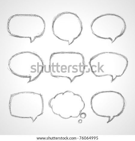 Hand draw speech bubbles set vector illustration. Eps 10. - stock vector