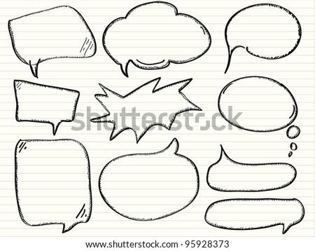 Hand draw speech bubbles, vector - stock vector