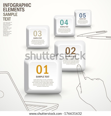 hand draw style 3d vector abstract buton infographic elements - stock vector