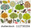 hand draw  trees and leafs over checked background, vector - stock vector