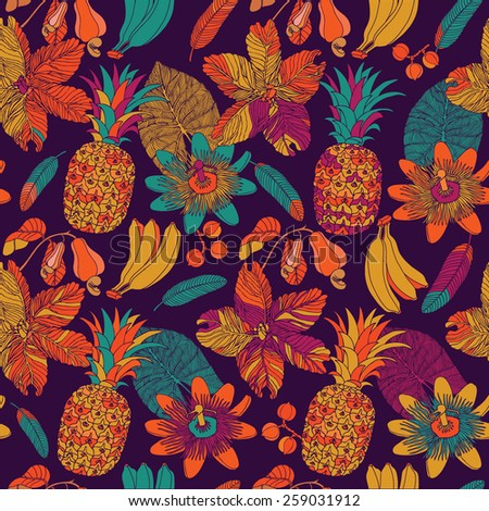 hand draw tropical flower and fruits,blossom cluster seamless pattern background - stock vector