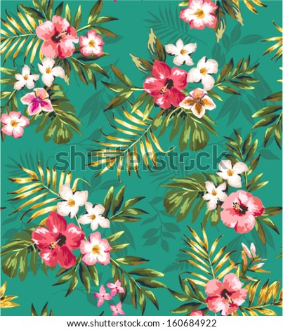 hand draw tropical flower,blossom cluster green  pattern background - stock vector