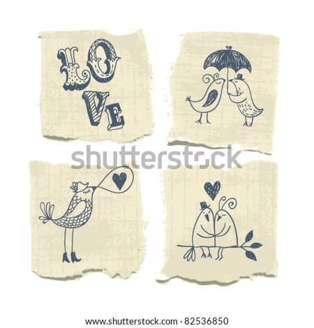 hand draw, valentine's illustration - stock vector