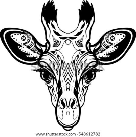 Hand Draw Vector Illustratins Head Of Giraffe. Art For Print, Wear, Tattoo,