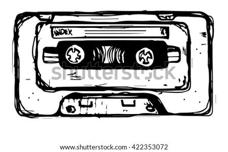 Hand draw vector sketch plastic audio cassette tape.  - stock vector