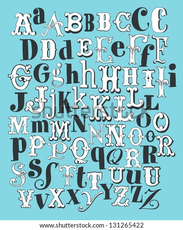 Hand Draw Vintage Alphabet - stock vector