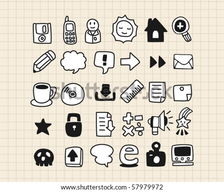 hand draw web icon - stock vector