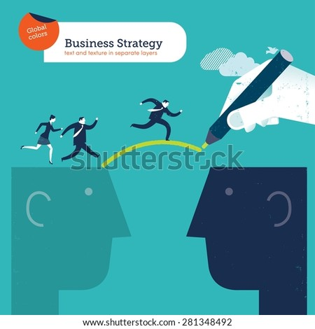 Hand drawing a bridge between two heads businesspeople crossing over. Vector illustration Eps10 file. Global colors. Text and Texture in separate layers. - stock vector
