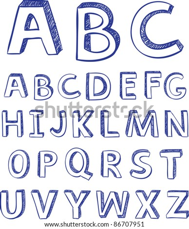 Hand drawing alphabet. vector for design - stock vector