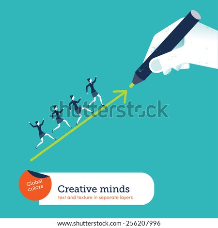Hand drawing an arrow businesswomen going up. Vector illustration Eps10 file. Global colors. Text and Texture in separate layers. - stock vector