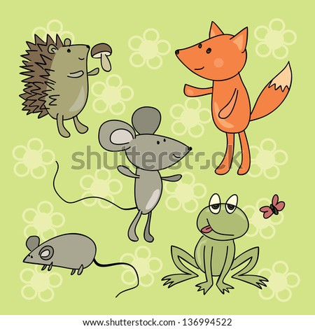 hand drawing animals collection - stock vector