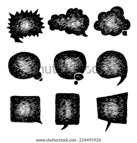 HAND DRAWING BALLOON SPEECH,BUBBLE SPEECH VECTOR SET - stock vector