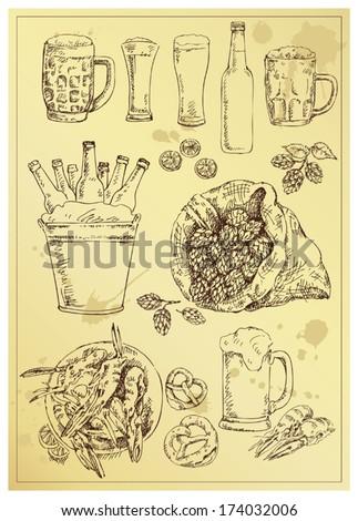 hand drawing beer set - stock vector