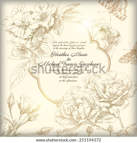 Hand drawing bridal card flower background - stock vector