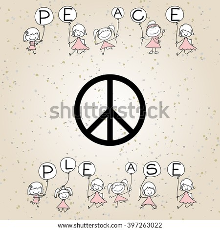 hand drawing cartoon alphabet, Peace Please, with Belgium flag vector illustration