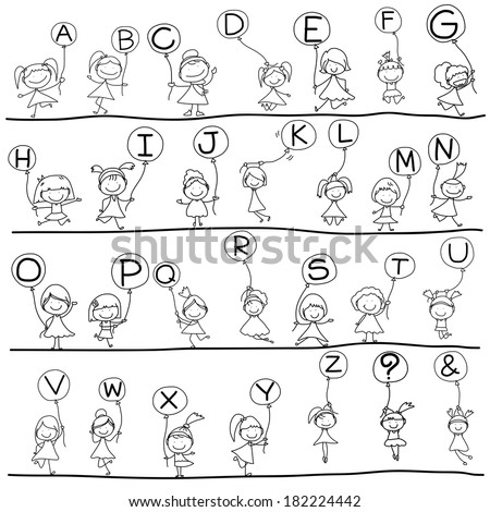 hand drawing cartoon character happiness alphabet - stock vector