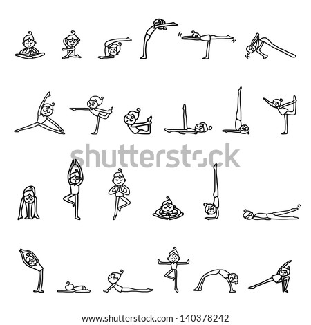 hand drawing cartoon character woman practicing yoga for design - stock vector