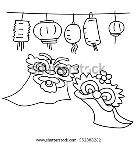 Children playing the lion dance stock images royalty free for Chinese lion coloring page