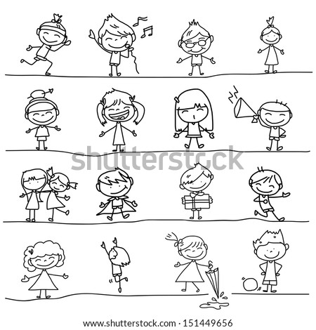 hand drawing cartoon happy kids playing - Cartoon Drawings Of Kids