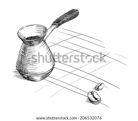 hand-drawing cezve for coffe.turkish drink - stock vector