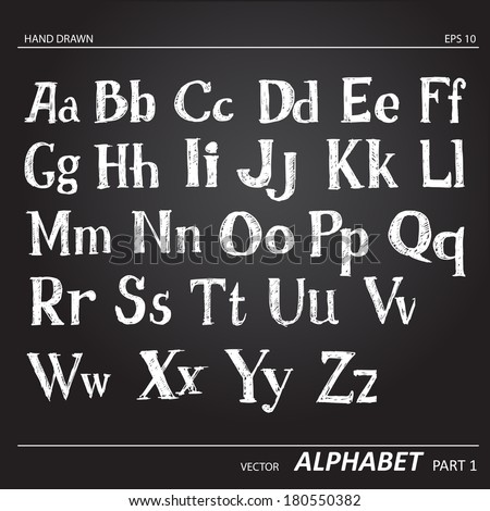 Hand drawing chalk alphabet on black background. - stock vector