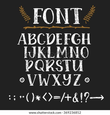 Hand drawing chalk font - stock vector